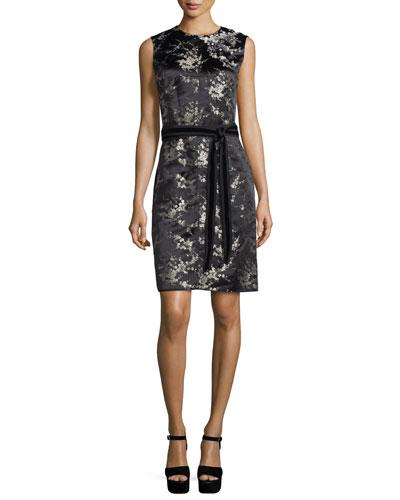 Sleeveless Cherry Blossom Sheath Dress, Gold/Multi