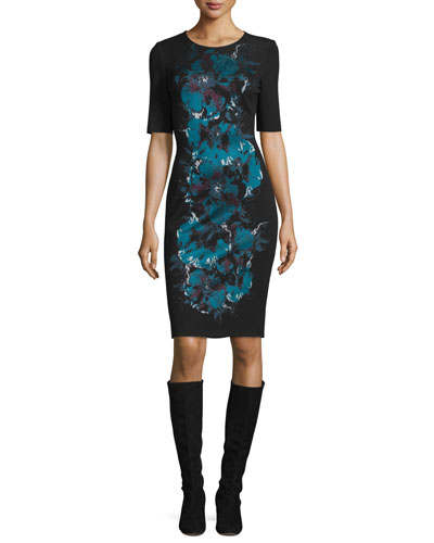 Floral-Jacquard Crewneck Knit Dress, Caviar/Multi