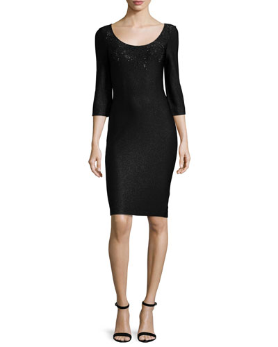 Julia Scoop-Neck Knit Dress, Caviar