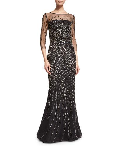 Beaded 3/4-Sleeve Tulle Gown, Caviar