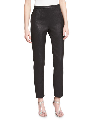 Emma Metallic Tweed Cropped Pants, Caviar