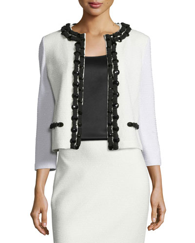 Beaded Embossed-Knit 3/4-Sleeve Jacket, Frost/Caviar