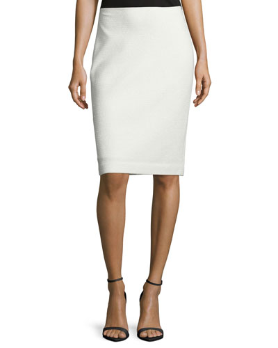 Embossed Eyelash Knit Pencil Skirt, Frost