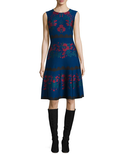 Ruby Rose-Jacquard Fit-&-Flare Dress, Prussian Blue/Multi
