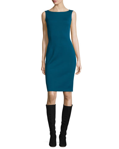Milano Bateau-Neck Sheath Dress, Tanzanite