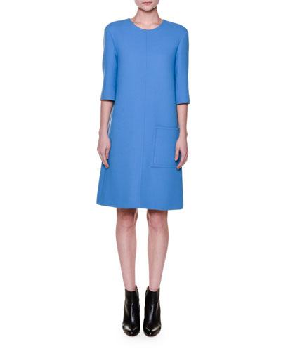 Half-Sleeve Round-Neck Shift Dress, Azure