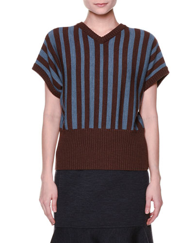 Short-Sleeve V-Neck Striped Sweater, Sadellee Brown