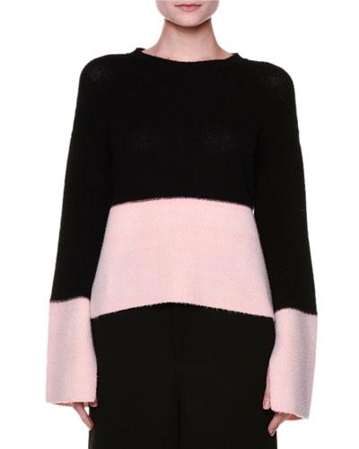 Flyaway-Back Colorblock Cashmere Sweater, Black/Pink