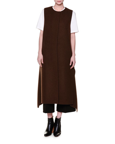 High-Back Flange Long Vest, Brown Melange