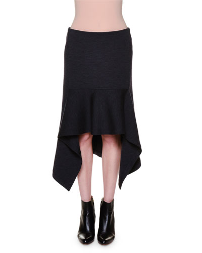 Dropped-Waist Flange High-Low Skirt, Graphite