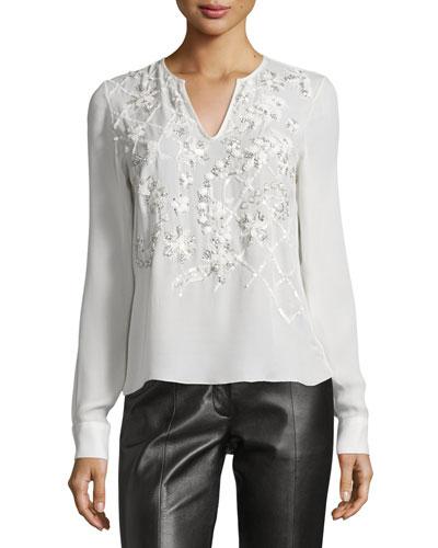 Long-Sleeve Embellished Blouse, Ivory