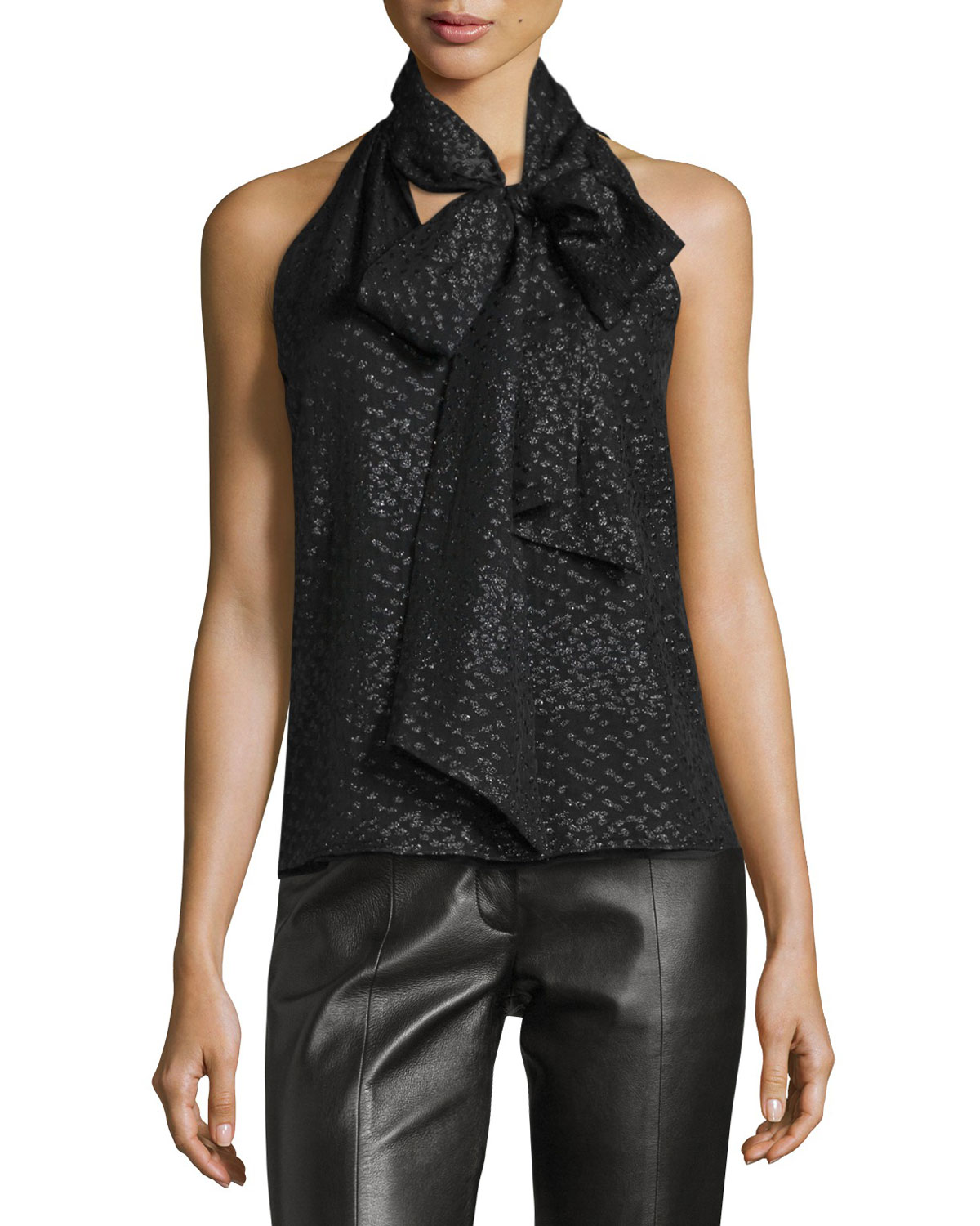 Sleeveless Tie-Neck Shimmery Blouse, Black/Gold