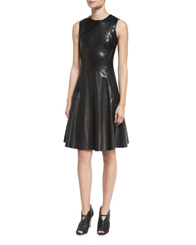 Braided-Trim Leather Fit-&-Flare Dress, Black