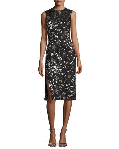 Metallic Floral-Print Sheath Dress, Black/Silver