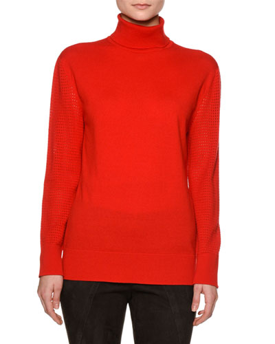 Perforated-Sleeve Turtleneck Sweater, Red