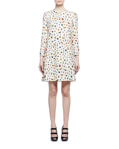 Obsession-Print 3/4-Sleeve Shift Dress, Ivory Mix