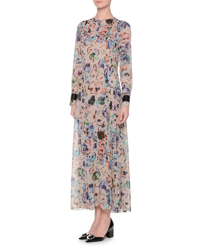 Long-Sleeve Pleated-Front Floral-Print Gown, Fantasia/Multi