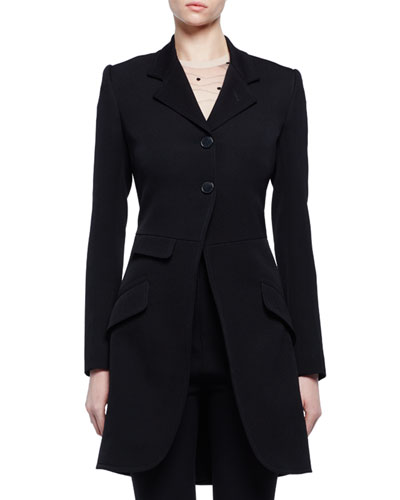 Two-Button Fitted Frock Jacket, Black