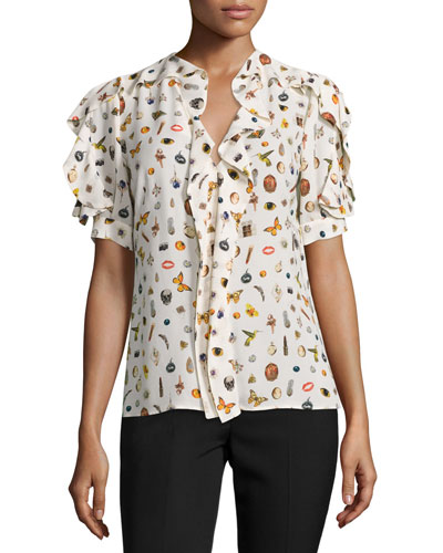 Obsession-Print Ruffled Short-Sleeve Blouse, Ivory/Mix