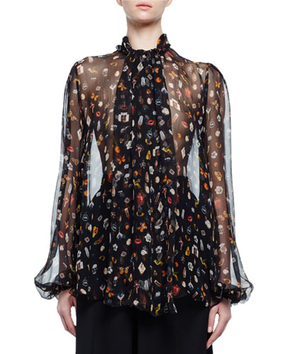 Obsession-Print Scarf-Collar Blouse, Black/Mix