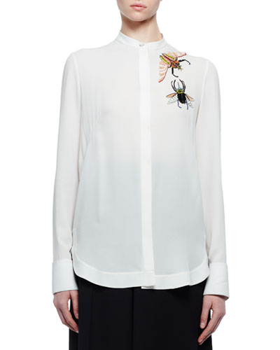 Bug-Embroidered Long-Sleeve Blouse, Soft White