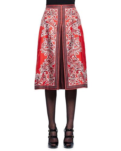High-Waist Paisley-Print Silk Skirt, Red/Brown