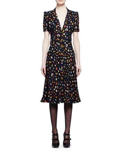 Obsession-Print Button-Front Dress, Black Mix