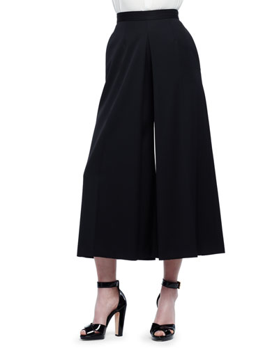 High-Waist Wide-Leg Culotte Pants, Black