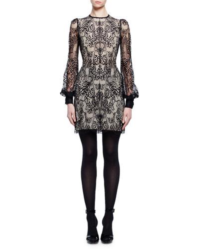 Long-Sleeve Jewel-Neck Lace Dress, Black/Flesh