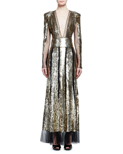 Sequined Long-Sleeve V-Neck Gown, Black