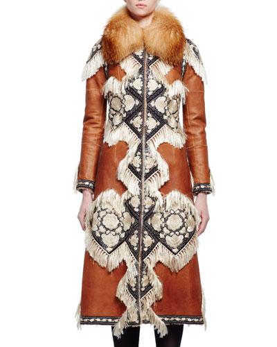 Fur-Collar Embroidered Coat W/Fringe Trim, Caramel/Aubergine/Ivory