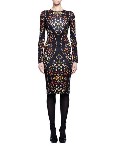 Obsession-Print Long-Sleeve Sheath Dress, Black Mix