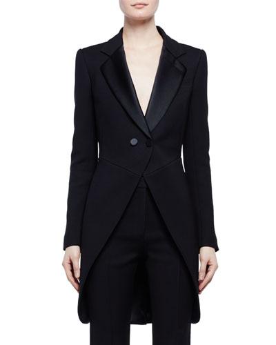 One-Button Tuxedo Frock Jacket, Black