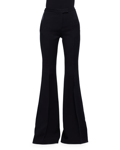 Flare-Leg Wool/Silk Tuxedo Pants, Black