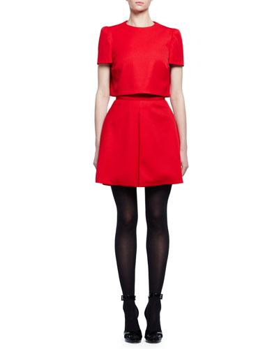 Short-Sleeve Popover Mini Dress, Flame