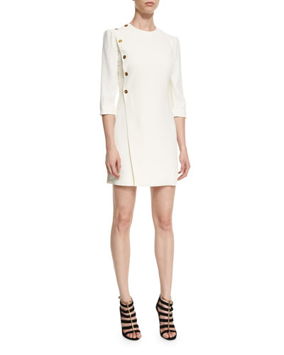 Side-Button 3/4-Sleeve Dress, White