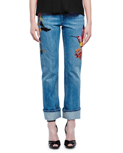 Embroidered Straight-Leg Boyfriend Jeans, Light Indigo
