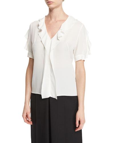 Ruffled Silk Short-Sleeve Blouse, Soft White