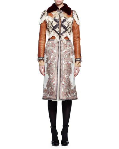 Fur-Collar Embroidered Jacket W/Fringe Trim, Caramel/Aubergine/Ivory