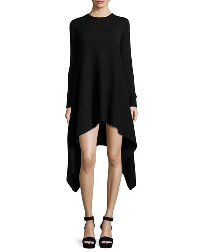 Cashmere Long-Sleeve Flounce-Hem Sweaterdress, Black