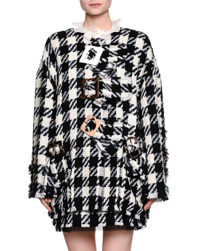 Macro Houndstooth Oversized Jacket, Black/White