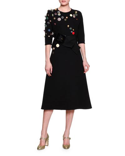 Half-Sleeve Embellished Dress, Black