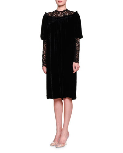 Lace-Inset Gathered-Neck Shift Dress, Black