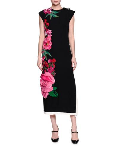 Sleeveless Floral-Embroidered Midi Dress, Black/Pink