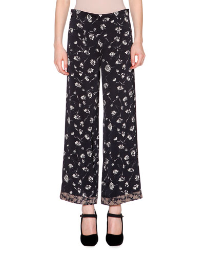 Daisy-Print Cropped Pants, Black/Multi