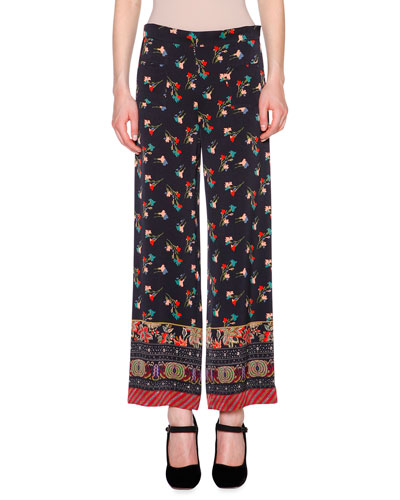 Floral Chinoiserie Cropped Pants, Black/Multi