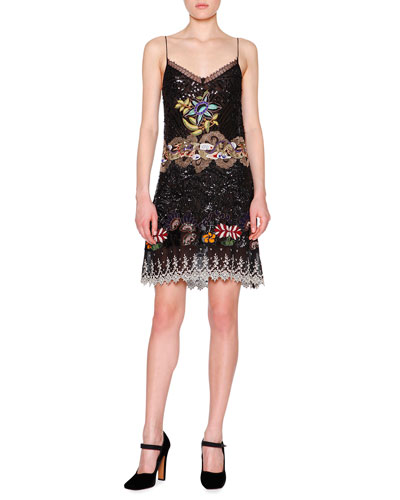 Embellished Silk Slip Dress, Black/Multi