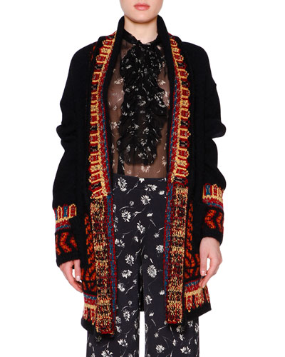 Open-Front Embroidered Oversize Cardigan, Black/Multi