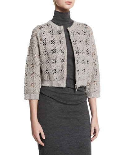 Cropped Paillette Crochet Cardigan, Elephant