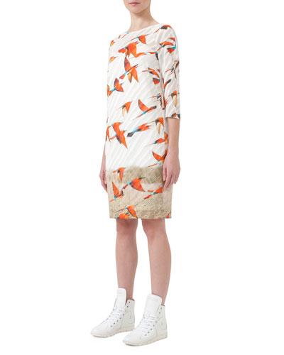 3/4-Sleeve Karminspint-Print Shift Dress, Multi